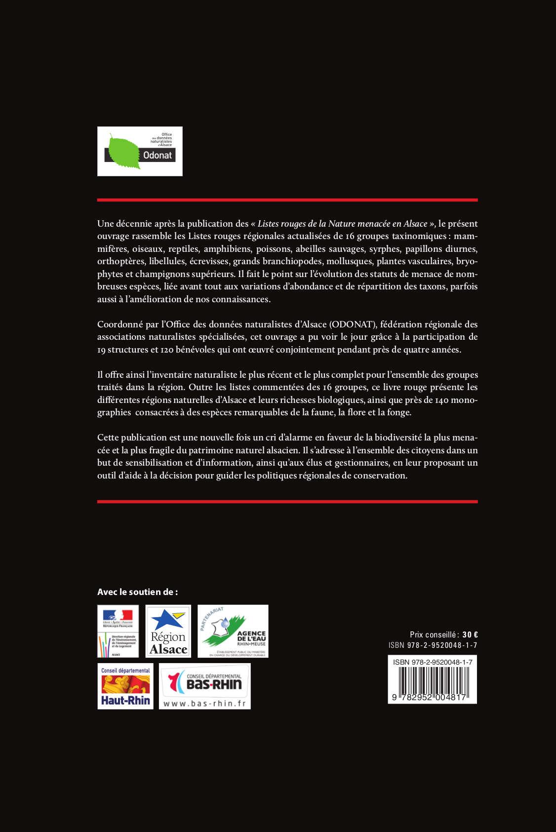 Livre rouge des esp ces menac es en alsace baobab - Office national de publication et de communication ...
